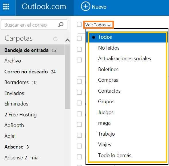 Filtrar correos electrónicos en Outlook.com