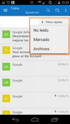 Filtros rápidos en Outlook para Android