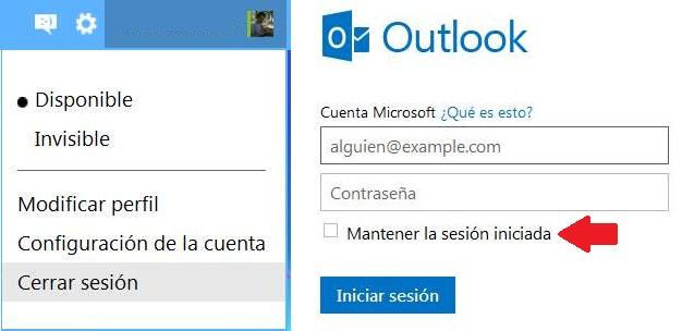 Forzar el cierre de sesión en Outlook.com