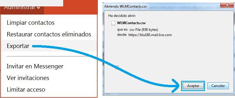Función para exportar los contactos de Outlook.com