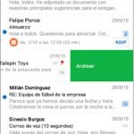 Gestos deslizantes en Outlook