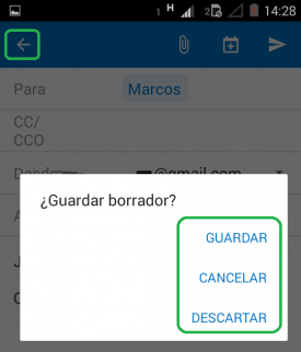 Guardar borradores en Outlook para Android