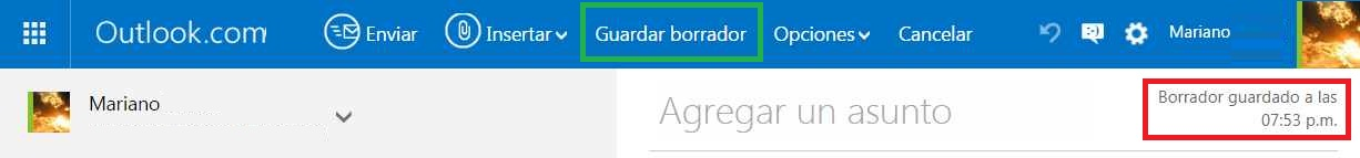 Guardar borradores en Outlook.com