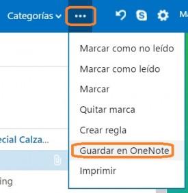 Guardar correos en OneNote