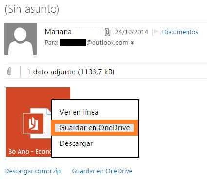 Guardar documentos adjuntos en OneDrive