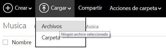Guardar música en OneDrive