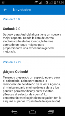 Historial de cambios en Outlook para Android