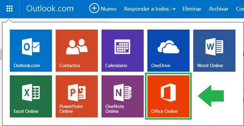 Icono de Office Online en Outlook.com