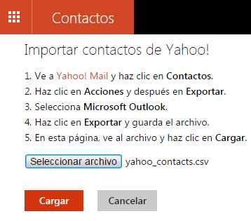 Importar contactos de Yahoo a Outlook.com