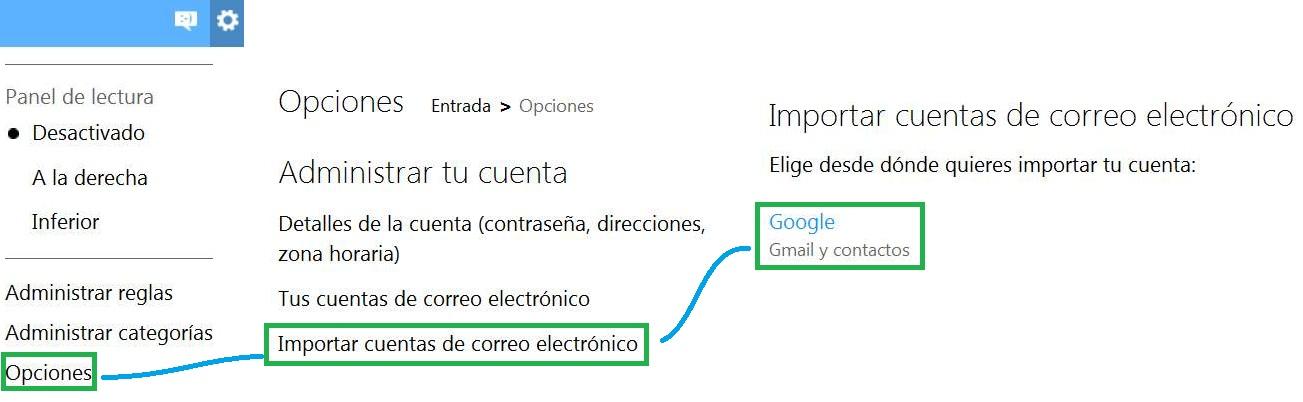 Importar una cuenta de Gmail a Outlook.com