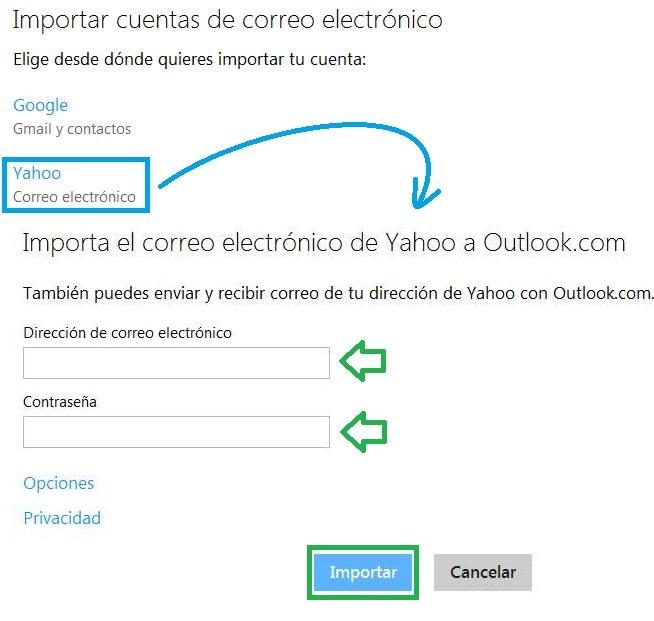 Importar una cuenta de Yahoo a Outlook