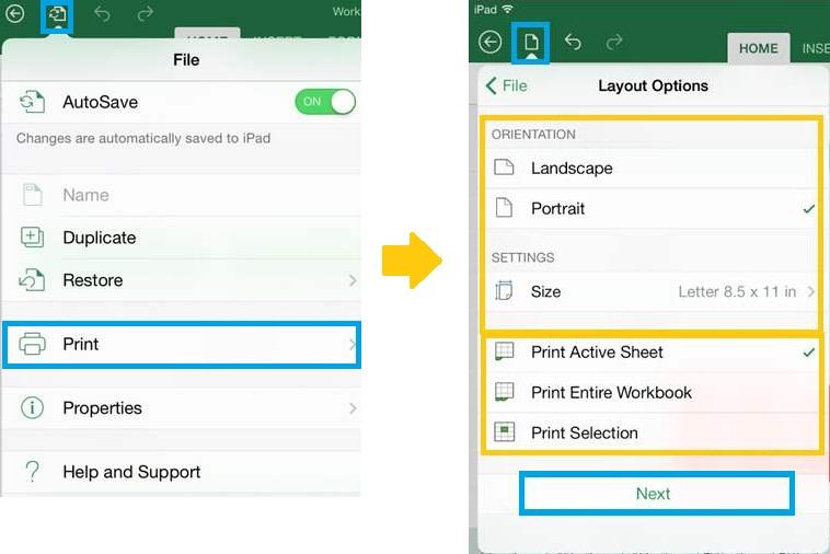 Imprimir documentos de Excel desde iPad