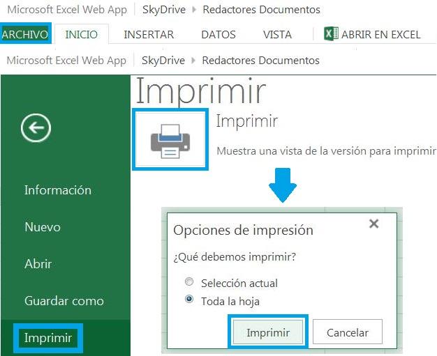 Imprimir en Excel desde Office Web App