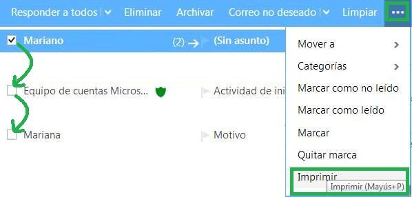 Imprimir múltiples correos electrónicos en Outlook.com