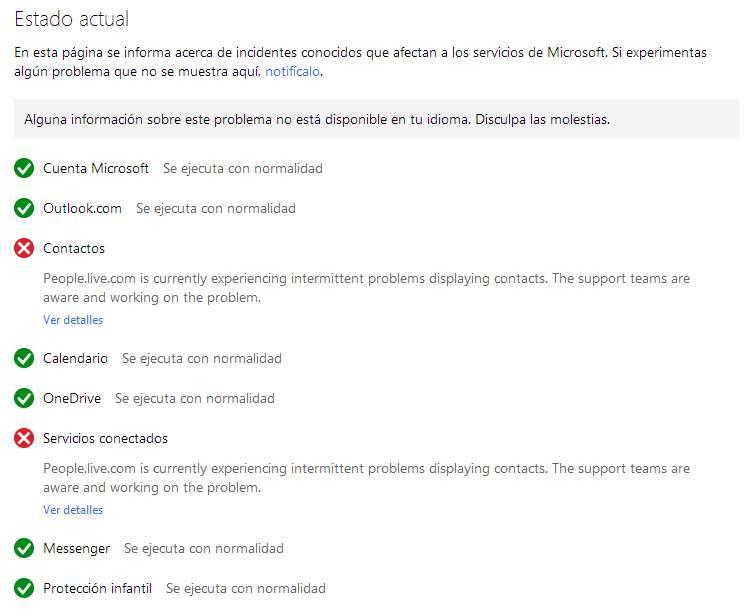 Inconvenientes para acceder a los contactos de Outlook.com