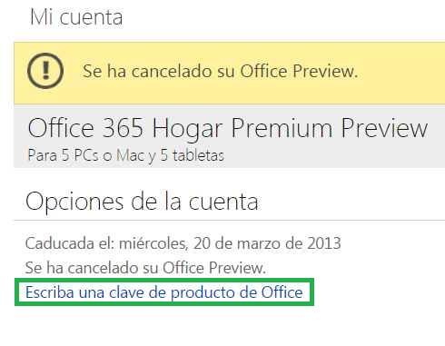 Ingresar un código de Office