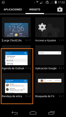 Insertar el widget de Outlook para Android