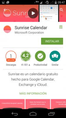 Instalar Sunrise Calendar