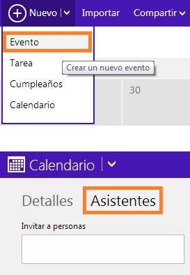 Invitar contactos a eventos del calendario