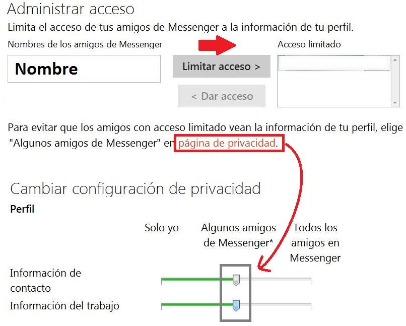 La privacidad en tu perfil de Messenger