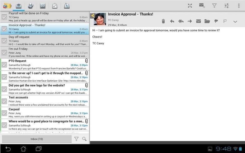 Leer correos de Outlook.com con TouchDown