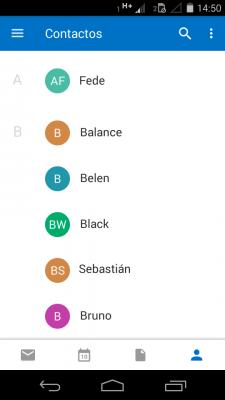 Listado de contactos en outlook para android