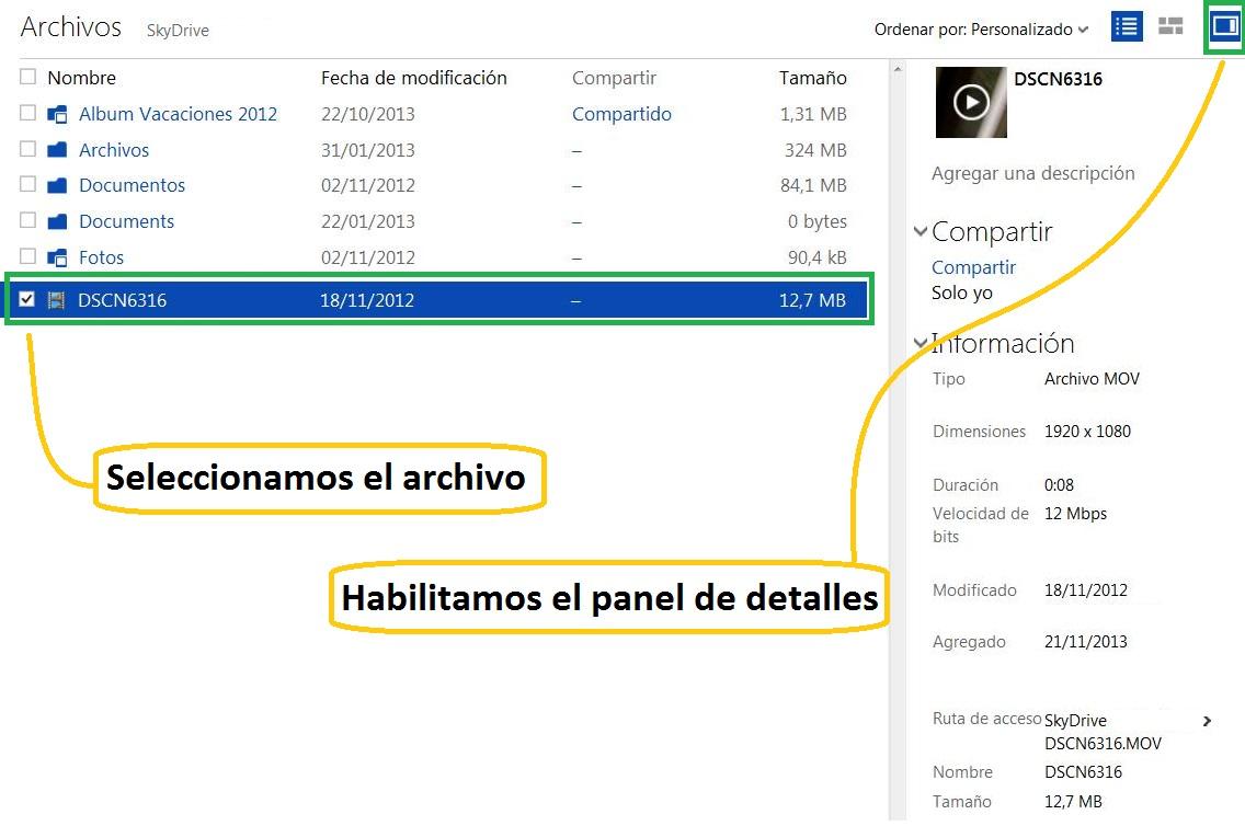 Listado de propiedades de un archivo cargado en SkyDrive