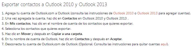 Llevar contactos a Outlook desde Outlook.com