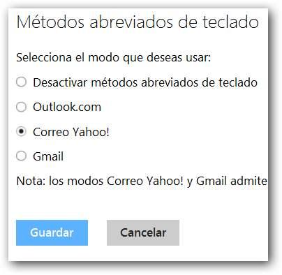 Métodos abreviados de Yahoo y Gmail en Outlook.com