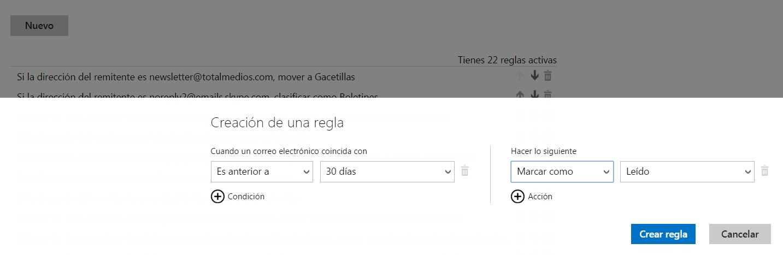 Marcar como leídos los correos antiguos en Outlook.com