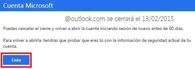 Marcar una cuenta de outlook.com para su cierre