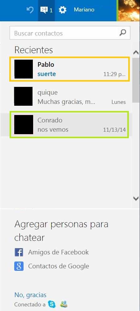 Mensajes de Skype sin leer en Outlook.com