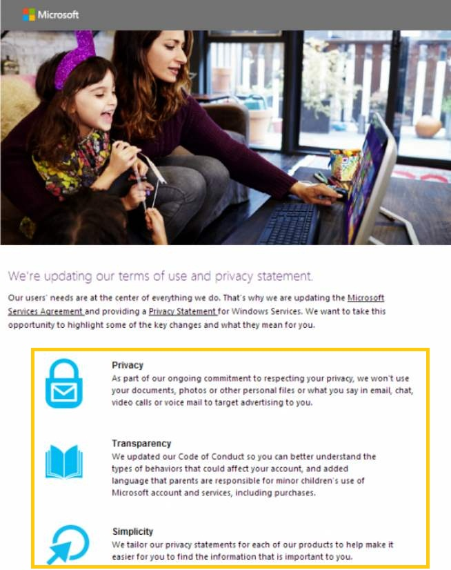 Microsoft modifica sus términos de uso