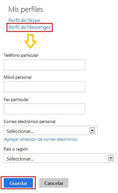 Modificar el número de teléfono en Outlook.com
