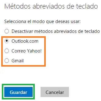 Modificar los métodos abreviados de teclado en Outlook.com