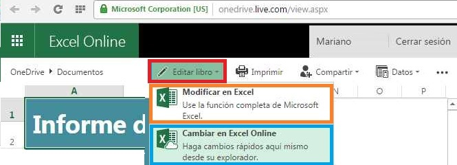 Modificar o cambiar documentos en Excel Online