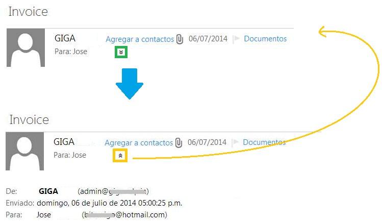 Mostrar el encabezado de un correo en Outlook.com