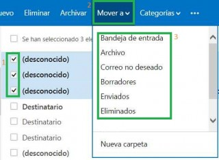 Mover borradores en Outlook.com