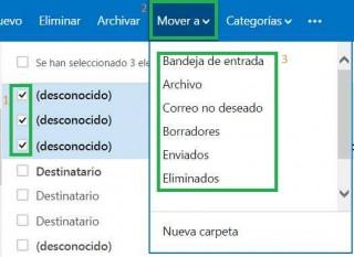 Mover borradores en Outlook.com