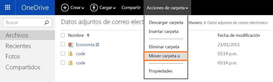 Mover carpetas en OneDrive
