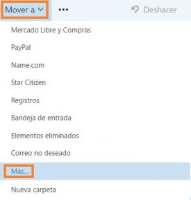 Mover correos en Outlook.com