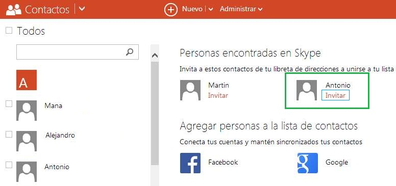 Nueva opción para invitar contactos a Skype