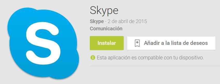 Nueva versión de skype para android