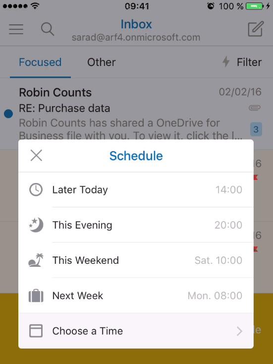 Nuevas opciones para programar correos en Outlook móvil
