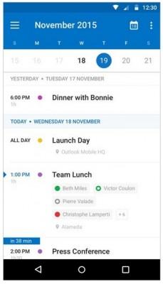 Nuevo diseño en calendario de Outlook Android
