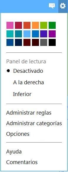 Nuevo menú de opciones en Outlook.com