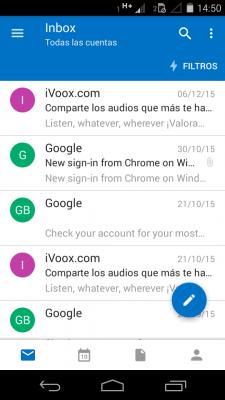 Nuevo menú en Outlook para Android