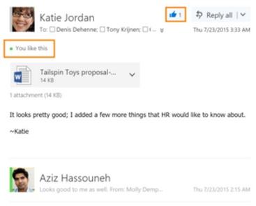 Nuevo sistema de Likes para usuarios de Outlook.com
