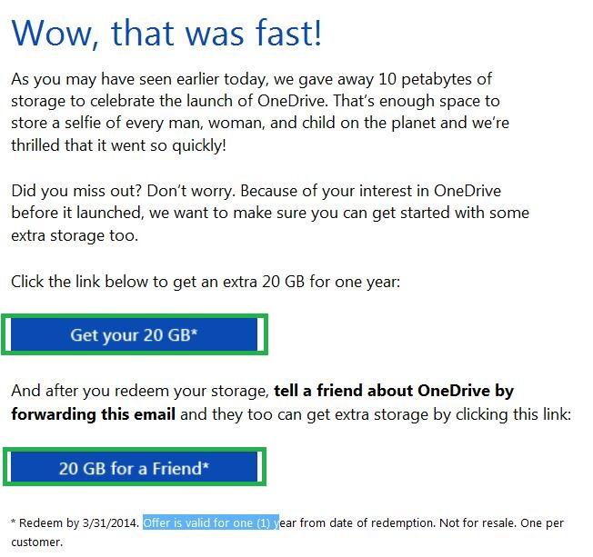 Obtener 20GB adicionales de almacenamiento en OneDrive
