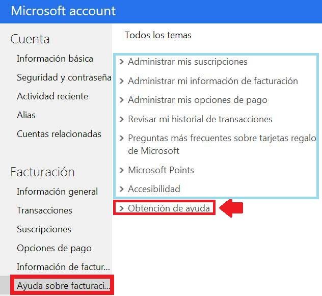 Obtener soporte para la facturación de Microsoft
